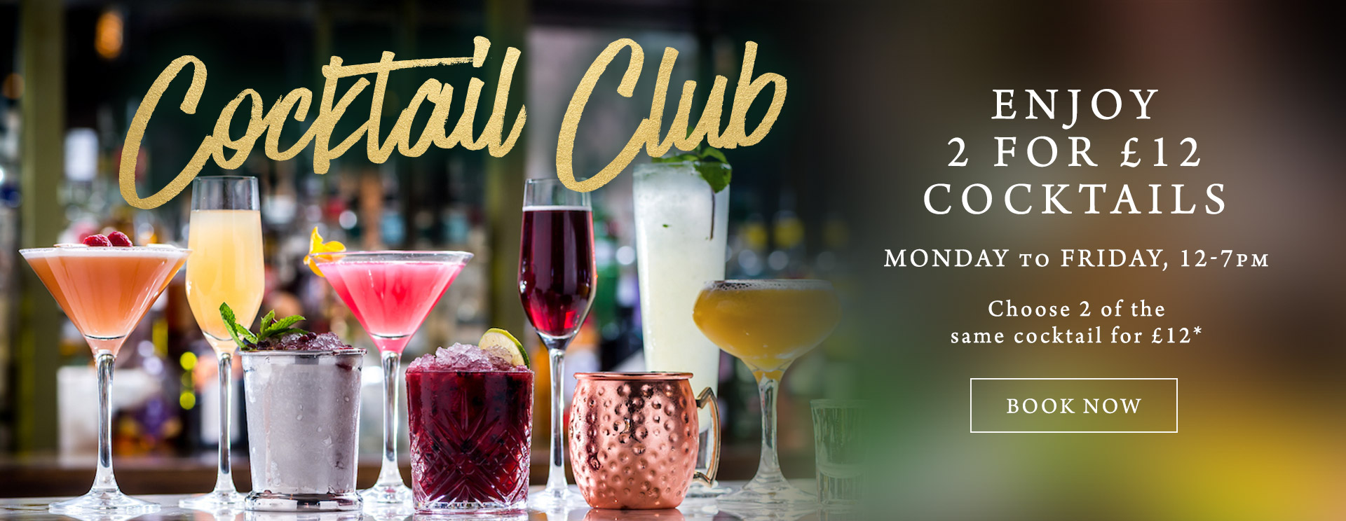 2 for £12 cocktails at The Derby Arms